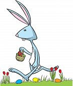 stock photo of peter cottontail  - Cartoon Easter Bunny in vector art and Hi res raster art formats - JPG