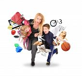 stock photo of single woman  - A mother is late for school and work while rushing with her children for a funny stress concept on a white isolated background - JPG