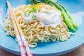 stock photo of rice noodles  - Chinese Rice Noodle with fried egg on table - JPG