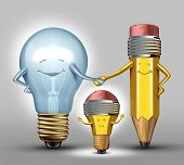 stock photo of lightbulb  - Creativity concept as a mother lightbulb and father pencil characters giving birth to a child that combines the creative strength of both parents as a synergy metaphor for successful results with collaboration through planning and partnership - JPG