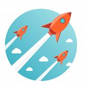 image of spaceships  - modern vector illustration concept for new business project startup launching new product or service - JPG