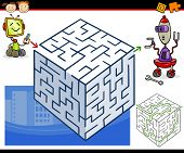 stock photo of maze  - Cartoon Illustration of Education Maze or Labyrinth Game for Preschool Children with Funny Robots - JPG