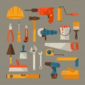image of multimeter  - Repair and construction working tools icon set - JPG