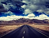 stock photo of manali-leh road  - Vintage retro effect filtered hipster style travel image of Travel forward concept background  - JPG
