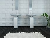 foto of wash-basin  - Picture of modern design white wash basin and faucet - JPG