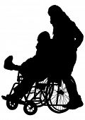 pic of lame  - Silhouettes wheelchair and women on white background - JPG