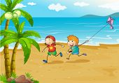 foto of playmates  - Illustration of the kids playing at the beach with their kite - JPG