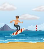 foto of hot pants  - Illustration of a boy surfing at the beach - JPG