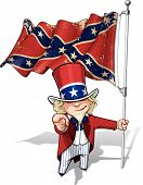 stock photo of uncle  - Vector Cartoon Illustration of South Uncle Sam holding a waving a American civil war South Flag  - JPG