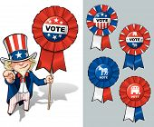 stock photo of uncle  - Vector Cartoon Illustration of Uncle Sam holding a Vote ribbon  - JPG