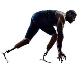picture of sprinters  - one muscular handicapped man runners sprinters  with legs prosthesis in silhouettes on white background - JPG