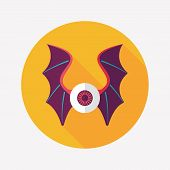 stock photo of bat wings  - Eye With Bat Wings Flat Icon With Long Shadow Design elements for mobile and web applications - JPG