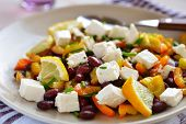 stock photo of chive  - Bean salad with feta cheese - JPG