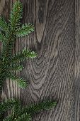 image of view from space needle  - fir branch on stained oak table from above christmas background - JPG