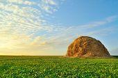 stock photo of haystacks  - single haystack on a green field under a sunset sky - JPG