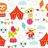 foto of circus clown  - Seamless kids geometric circus animals monkey elephant clown and lion illustration vivid background pattern in vector - JPG