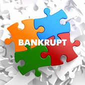 picture of lame  - Bankrupt on Multicolor Puzzle on White Background - JPG