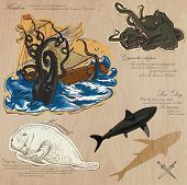 stock photo of kraken  - An hand drawn vector pack - JPG