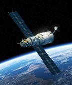 picture of starship  - International Space Station Orbiting Earth - JPG