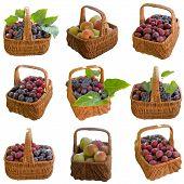 stock photo of crude  - Apple Grapes Plum Fruit Crude Basket Ripe Sweet Product Fruit - JPG