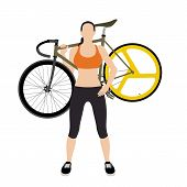 stock photo of bicycle gear  - Cyclists and fixed gear bicycle Vector and Illustration - JPG
