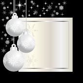 image of premises  - three silver christmas balls on black background - JPG