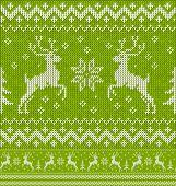 image of deer  - Green Christmas knit with deers vector seamless pattern - JPG