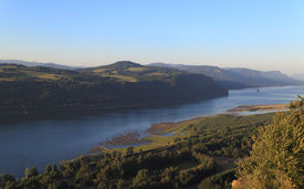 stock photo of promontory  - A view of the Columbia River Gorge from Crown Point - JPG