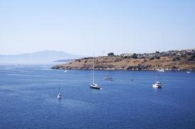 foto of gumbet  - Landscape of beautiful sea near city of Bodrum Turkey - JPG