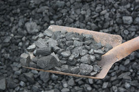 picture of power-shovel  - Shovel and coal in the background coal mine - JPG