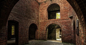stock photo of gatekeeper  - View from inside looking out at Squire - JPG