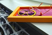 stock photo of optical  - Various pairs of glasses in optical shop - JPG