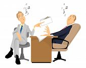 stock photo of animated cartoon  - Vector illustration of a man giving a bribe - JPG