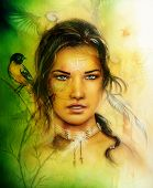 picture of airbrush  - beautiful airbrush portrait of a young enchanting woman face with feathers and long dark hair looking directly up with birds on green painting background - JPG