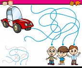 image of maze  - Cartoon Illustration of Education Path or Maze Game for Preschool Children with Boys and Car - JPG