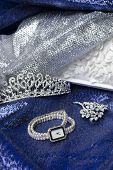 stock photo of clutch  - Set of female accessories of the clutch watches brooches and tiaras - JPG