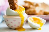 pic of duck egg blue  - Series on boiled duck egg for breakfast with toast soldiers  - JPG