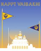 picture of sikh  - an illustration of a sikh greeting card with gurdwara and sikh flags with military emblems on a sunset background - JPG