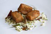 picture of duck breast  - Pork feet donuts cauliflower dried duck breast and balsamic vinegar - JPG