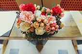 picture of wedding table decor  - wedding decor of flowers on the table - JPG