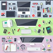 pic of promoter  - Flat design illustration workspace workplace concepts for business management strategy digital marketing finance social network education - JPG