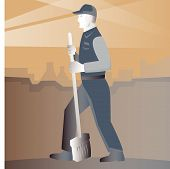 image of sweeper  - vector illustration of a cleaner street sweeper with broom working in street with building in background done in art deco retro style - JPG