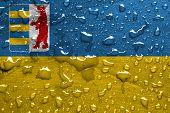 stock photo of zakarpattia  - flag of Zakarpattia Oblast with rain drops - JPG