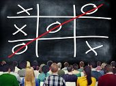 foto of tic  - Tic Tac Toe Game Competition XO Win Challenge Concept - JPG