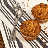 foto of pecan  - Crunchy Granola Peach Muffins with Butter Pecan Toppings - JPG