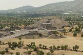 pic of pyramid  - A view of the Pyramid of the Moon at the end of the Avenue of the Dead in Teotihuacan a pre-Columbian Mesoamerican ancient city in M�xico. The Picture was taken from the top of the Pyramid of the Sun.