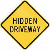 stock photo of driveway  - US road warning sign  - JPG