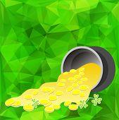 stock photo of leprechaun  - Leprechaun gold and clover on a green background - JPG