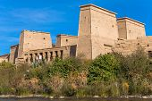 picture of isis  - Philae Temple of Isis located on Agilkia Island in the reservoir of old Aswan Dam Egypt - JPG