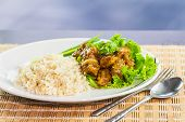 image of grouper  - Dish of rice and fried grouper in black pepper sauce - JPG